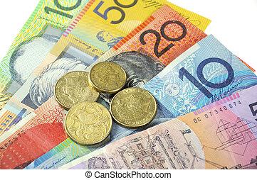 Australian Money concept for savings, spending, or 30th June...