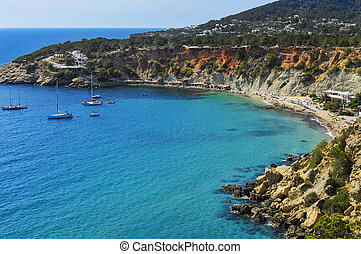 Cala de Hort cove in Ibiza Island, Spain - a panoramic view...