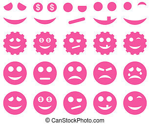 Tools, gears, smiles, emoticons icons. Glyph set style is...