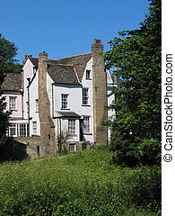 Old house - Centuries old white and pink house with...