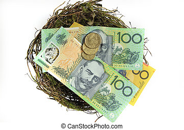 Money in the nest savings investment concept with Australian...