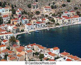 tetti, intorno, porto, grecia