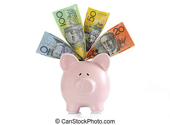Australian Money with Piggy Bank for saving, spending or end...