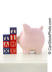 End of Financial Year Savings Concept with piggy bank,...