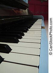 Piano keyboard close up - Piano aka Pianoforte keyboard...