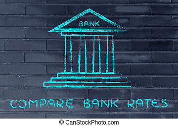 compare bank rates - bank illustration, concept of comparing...
