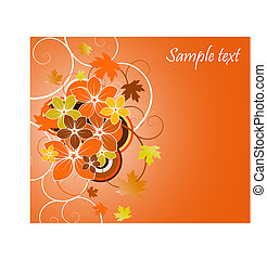 floral background with flowers and leaves