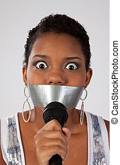 Black woman with mouth tapped - Pretty black woman with a...