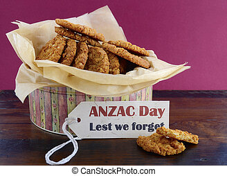 Australian Anzac biscuits in vintage biscuit tin container...