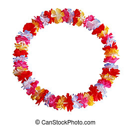 Lei Flower - Round circle colorful Hawaiian lei with bright...