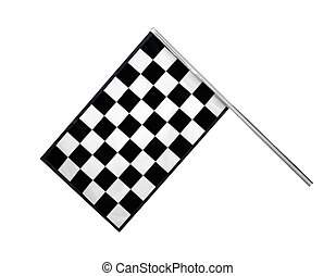 Finish Flag - Checkered race finish flag isolated on white...