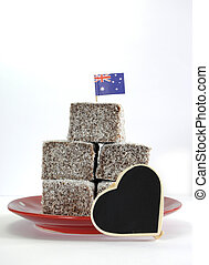 Traditional Australian cake slice, Lamington squares, with...
