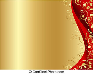 decorated frame in red and gold