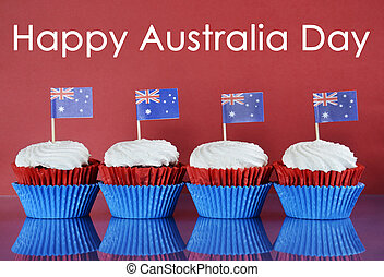 Happy Australia Day, January 26th, party food with red,...
