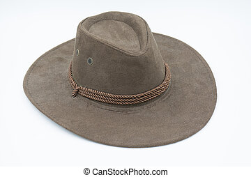 Brown cowboy hat on white background
