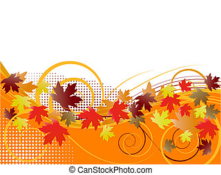 autumn floral background with falling leaves