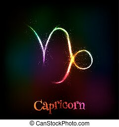Shining neon zodiac Capricorn symbol at dark background