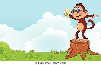 Monkey eat banana cartoon