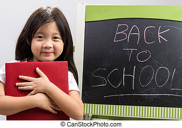 Back to School Education Concept / Back to School Education Concept Background / Kid Holding Book Illustrating Education Concept