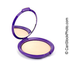 Face powder on white - Face powder with mirror on isolated...