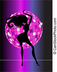 Sexy disco party girl - A black silhouette of a dancing...