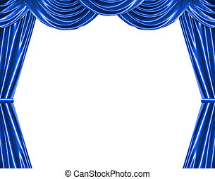 curtain - blue curtain isolated on white...