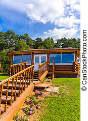 Wooden verandah - Wooden timberd verandah with staircase at...