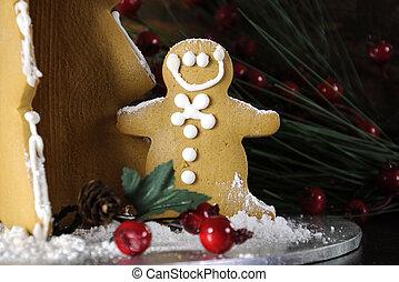 dunkel, baum, gegen,  Rustic, hintergrund, Holz, Mann, Lebkuchen, Feiertag, Weihnachten,  closeup
