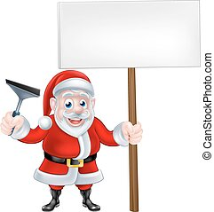 Cartoon Santa Holding Squeegee and Sign - A Christmas...