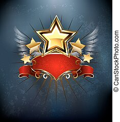 Stars with red ribbon - five golden stars with red ribbon on...