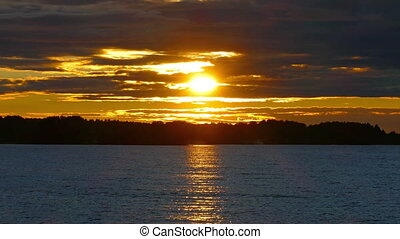 Sunset on Lake Onega, Karelia
