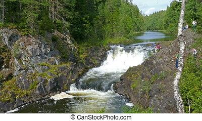 Kivach waterfall in Karelia, Russia - KIVACH, KARELIA,...