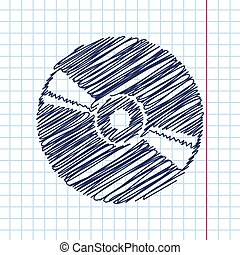 Compact disc icon - Vector hand drawn compact disc icon on...