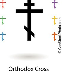 Orthodox crosses set vector illustration, holy cross...