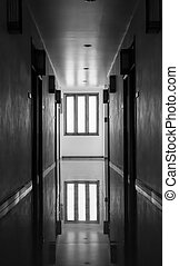 Interior of apartment passage on black and white background