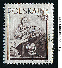 postmark - POLAND - CIRCA 1955: Poznan Town Hall and Fair...