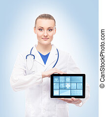 Beautiful and smiling doctor with tablet and great deal of...
