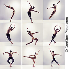 Set of dancing man. Ballet dancers collection.