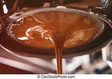 coffee extraction from professional coffee machine with...