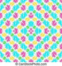 abstract blue green pink and yellow flowers on a white background