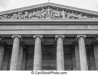 Black and white British Museum in London