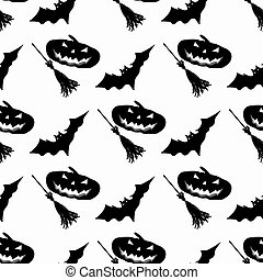 broom and pumpkin bats monochrome seamless pattern vector...