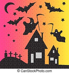 ghosts and bats on cemetery vector illustration