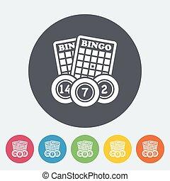 Bingo icon - Bingo. Single flat icon on the circle button....