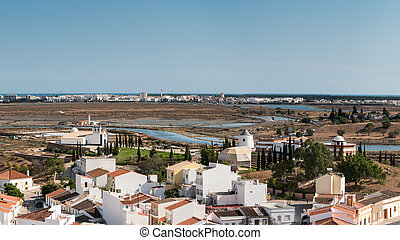 Panoramic view of Ayamonte town in the border between...