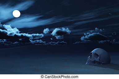 3D skull partially buried in sand against night sky - 3D...