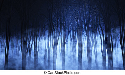 3D foggy forest - 3D render of a spooky foggy forest