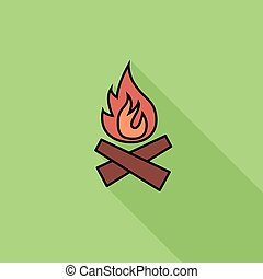 Bonfire icon. Flat vector related icon with long shadow for...