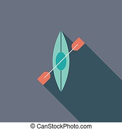 Canoe icon Flat vector related icon with long shadow for web...