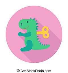 Dinosaurus toy icon Flat vector related icon with long...